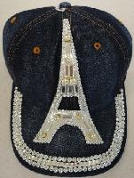 Denim Hat with Bling [Eiffel Tower] Silver